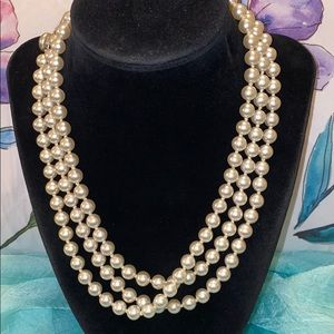 Vintage Long Glass Pearl Necklace